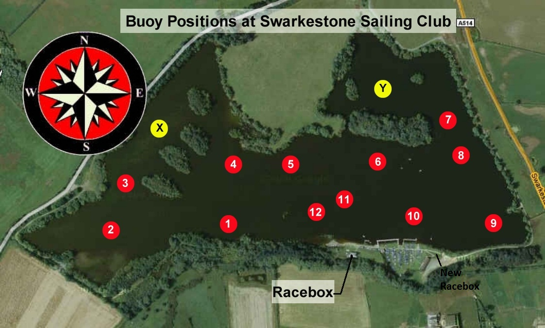 Racing Buoy Positions at Swarkestone Sailing Club